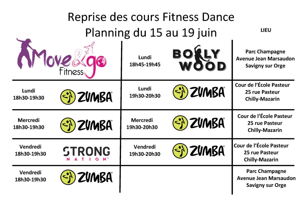 Planning reprise cours Fitness Dance 15-190620